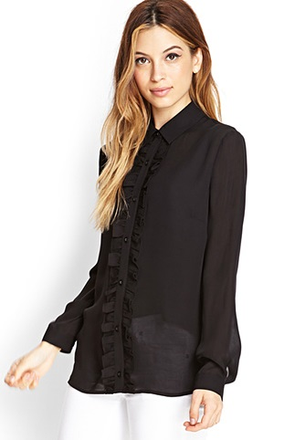 Forever 21 - Sheer Ruffled Shirt